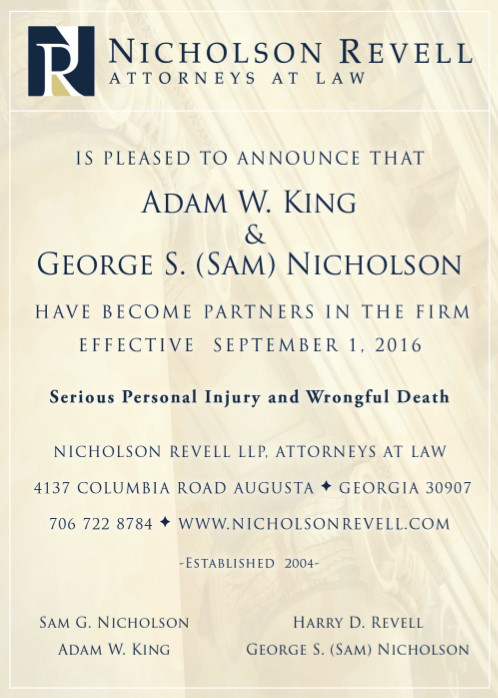 Partner Announcement | Nicholson Revell Augusta GA Attorneys