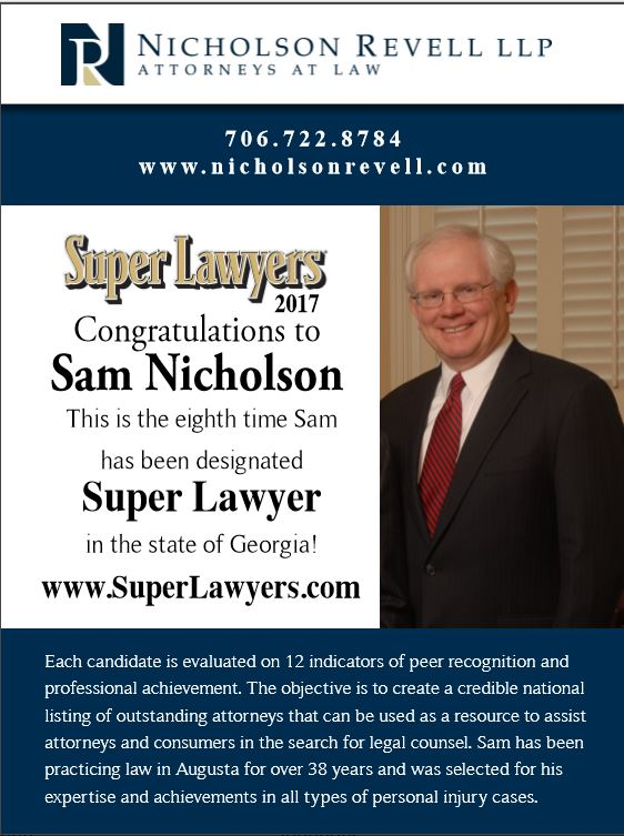 2017 Super Layers Nomination | Nicholosn Revell Law Firm Augusta GA